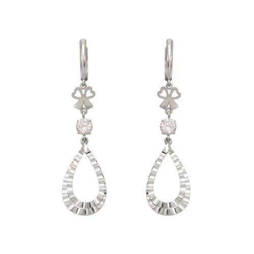443-136W Fancy Double Teardrop CZ Earrings