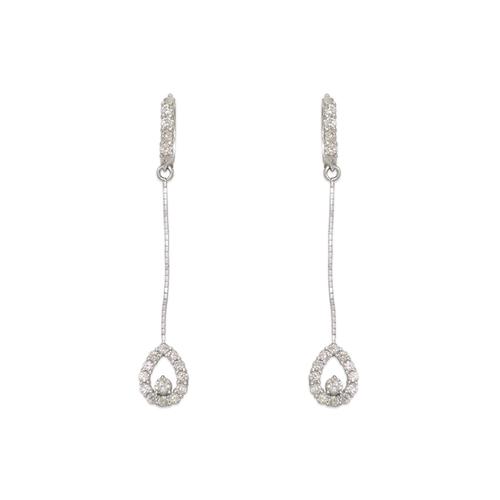 443-137W Fancy Teardrop CZ Earrings