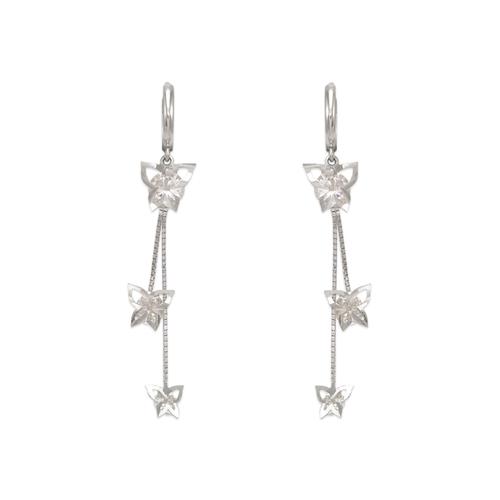 443-138W Fancy Double Butterfly CZ Earrings