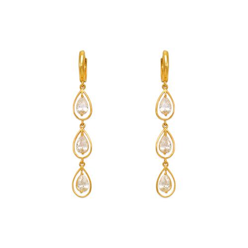 443-139 Fancy Triple Teardrop CZ Earrings