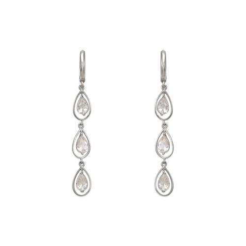 443-139W Fancy Triple Teardrop CZ Earrings