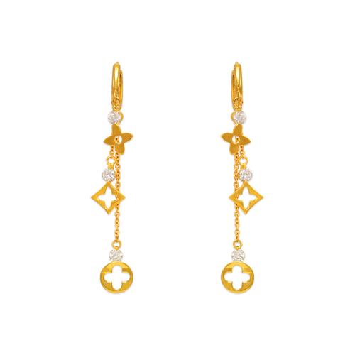 443-140 Fancy Design Dangling CZ Earrings