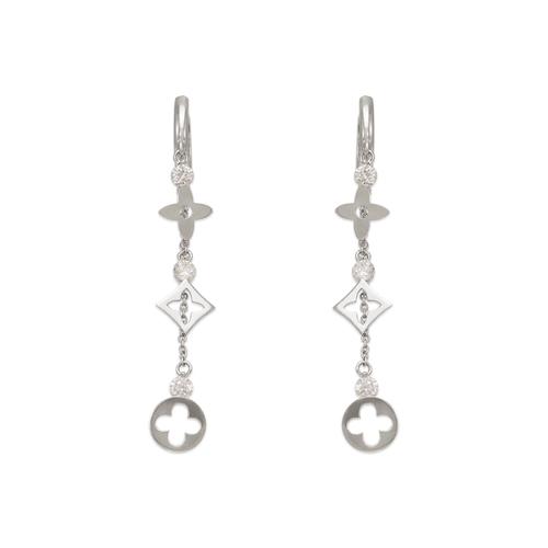 443-140W Fancy Design Dangling CZ Earrings