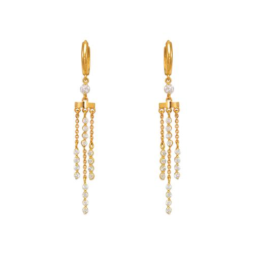 443-141 Fancy Chandelier Dangling CZ Earrings