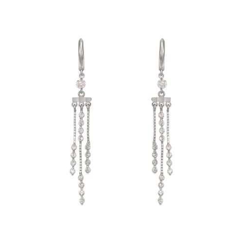 443-141W Fancy Chandelier Dangling CZ Earrings