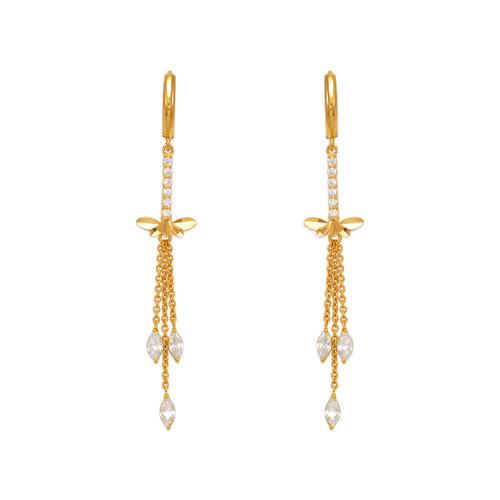 443-142 Fancy Dragonfly Dangling CZ Earrings
