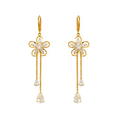 443-143 Fancy Flower Dangling CZ Earrings