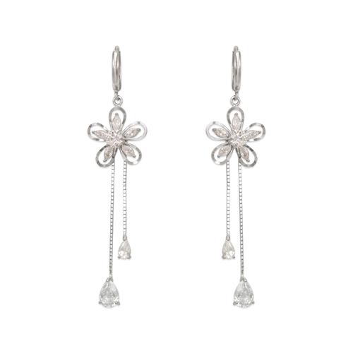 443-143W Fancy Flower Dangling CZ Earrings