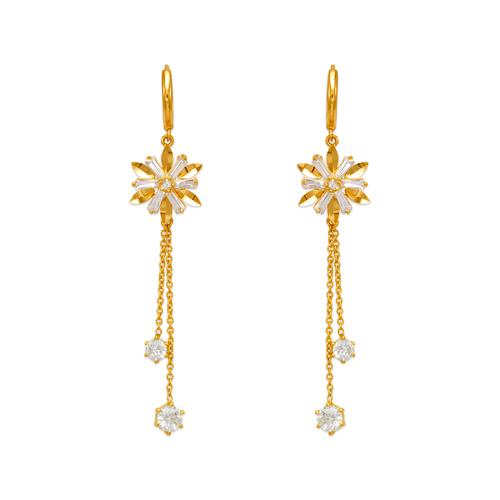 443-144 Fancy Flower Dangling CZ Earrings