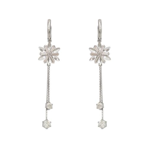 443-144W Fancy Flower Dangling CZ Earrings