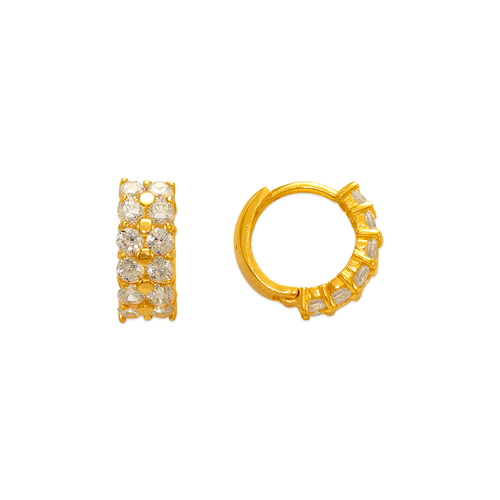 443-616 10mm Fancy Huggie CZ Earrings