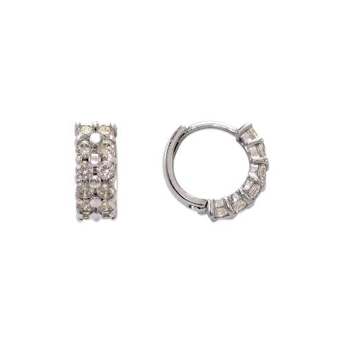 443-616W 10mm Fancy Huggie CZ Earrings