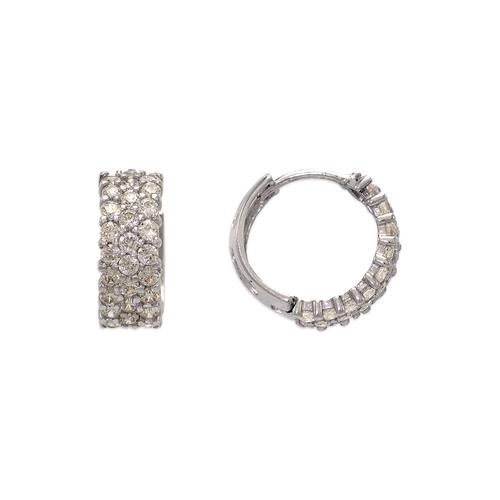 443-618W 14mm Fancy Huggie CZ Earrings