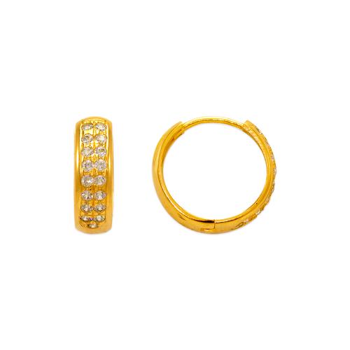 443-620 15mm Fancy Huggie CZ Earrings