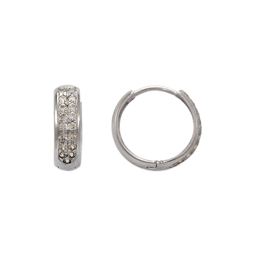 443-620W 15mm Fancy Huggie CZ Earrings