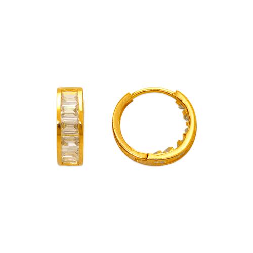 443-621 13mm Fancy Huggie CZ Earrings