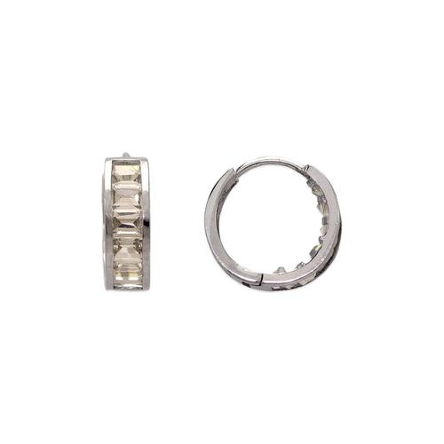 443-621W 13mm Fancy Huggie CZ Earrings