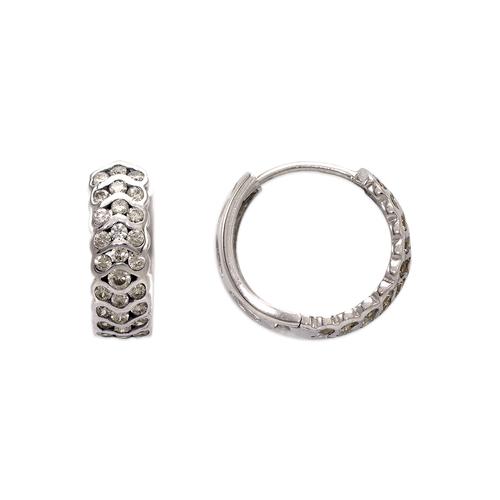 443-625W 17mm Fancy Huggie CZ Earrings