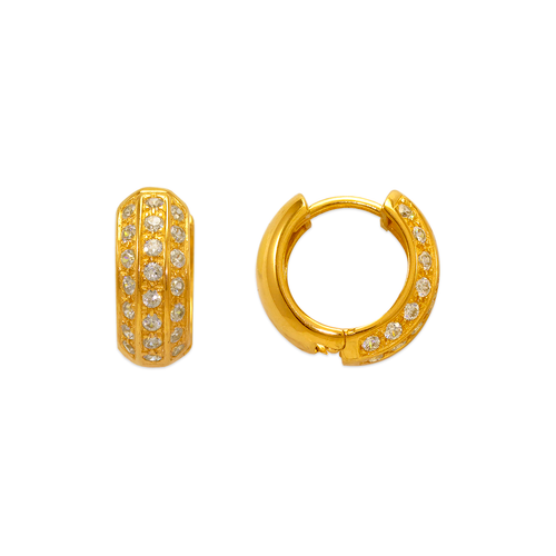 443-626 14mm Fancy Huggie CZ Earrings