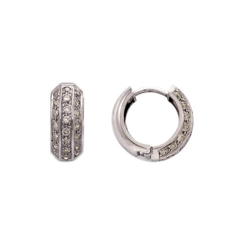 443-626W 14mm Fancy Huggie CZ Earrings