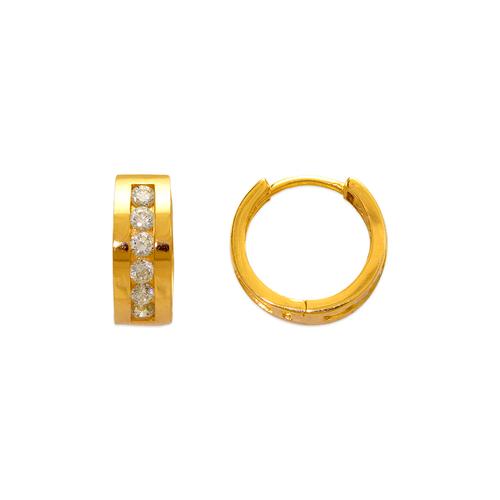 443-627 12mm Fancy Huggie CZ Earrings