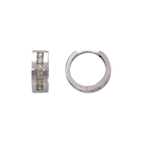 443-627W 12mm Fancy Huggie CZ Earrings
