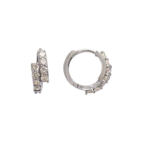 443-628W 14mm Fancy Huggie CZ Earrings