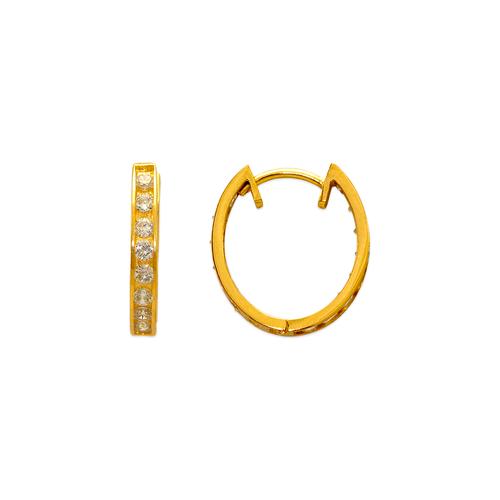 443-629 16mm Fancy Huggie CZ Earrings
