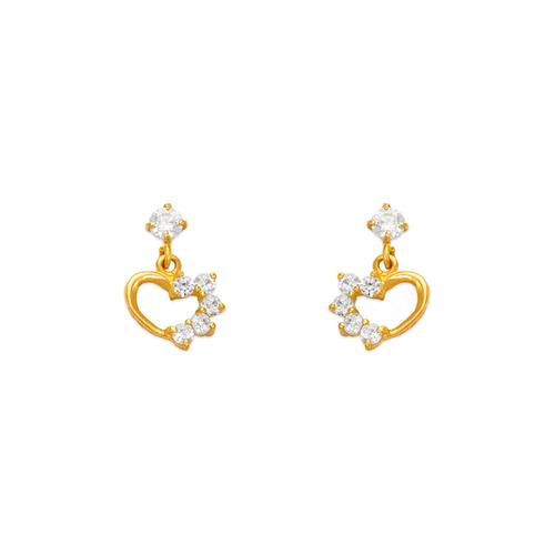 443-402 Dangling Heart CZ Stud Earrings
