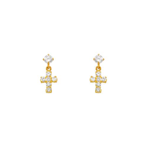 443-403 Dangling Cross CZ Stud Earrings