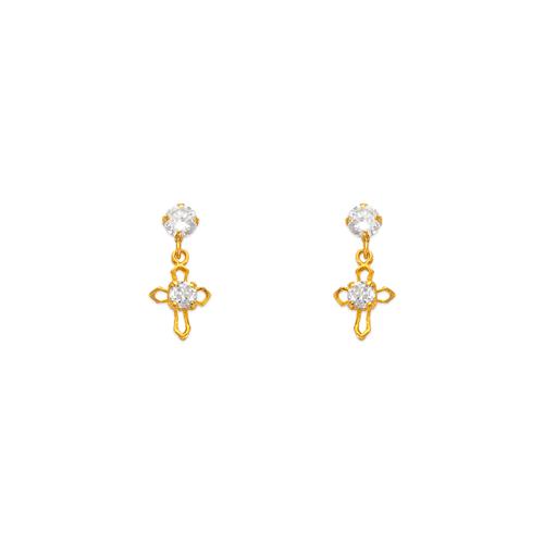 443-404 Dangling Cross CZ Stud Earrings