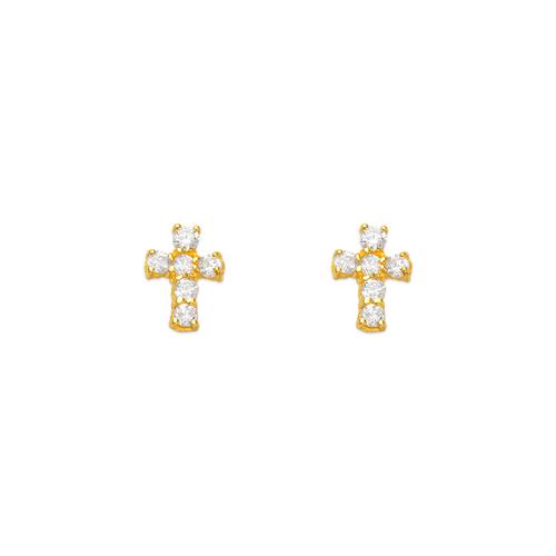 443-405 Cross CZ Stud Earrings