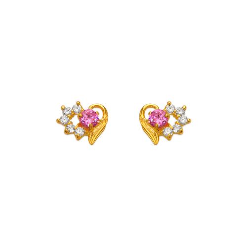 443-408PK Pink Heart CZ Stud Earrings