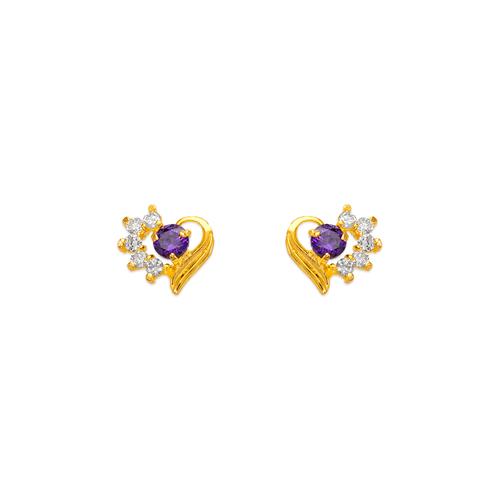 443-408PL Purple Heart CZ Stud Earrings