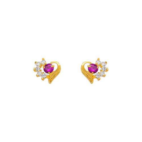443-408RD Red Heart CZ Stud Earrings