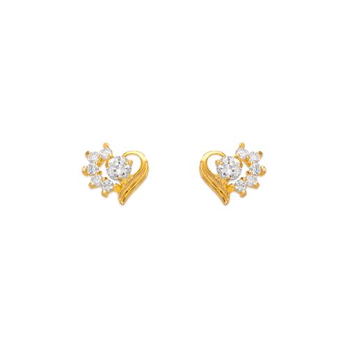 443-408WH Heart CZ Stud Earrings