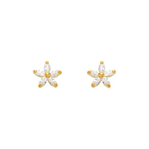 443-411 Flower CZ Stud Earrings