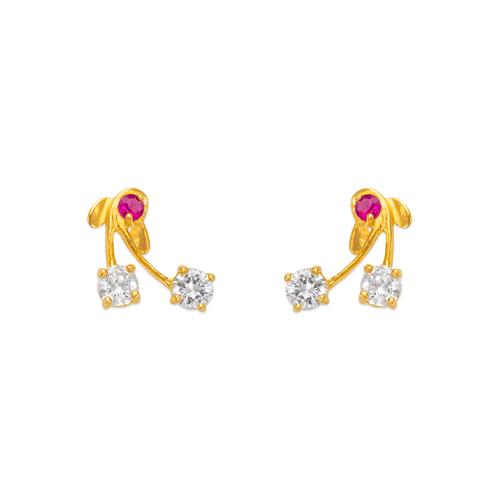 443-414 Cherry CZ Stud Earrings