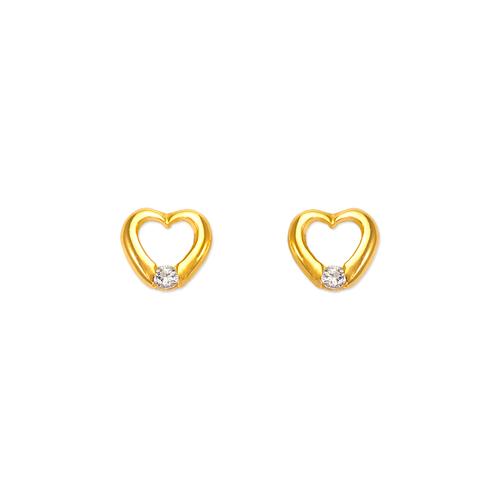 443-428 Heart CZ Stud Earrings