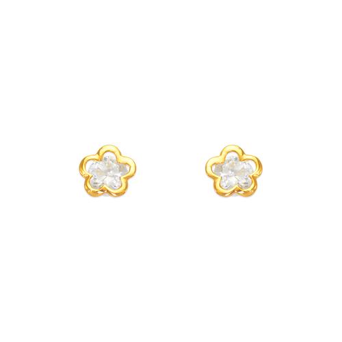 443-429 Flower CZ Stud Earrings