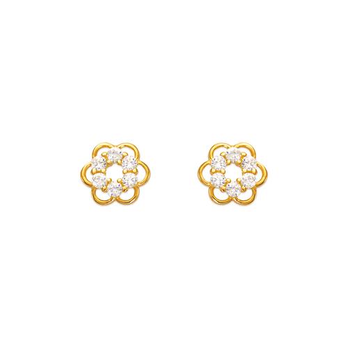 443-433 Flower CZ Stud Earrings