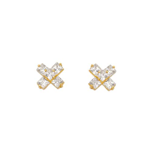 443-434 Cross CZ Stud Earrings