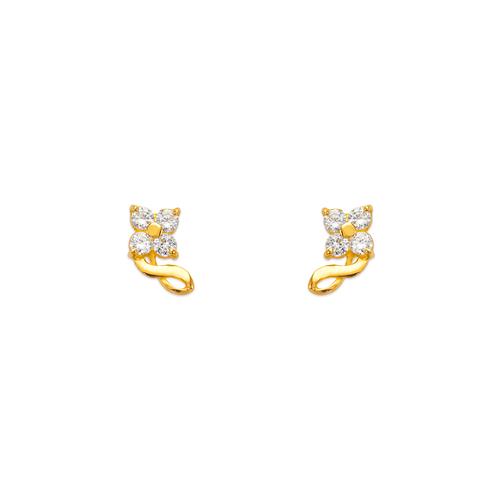 443-435 Flower CZ Stud Earrings