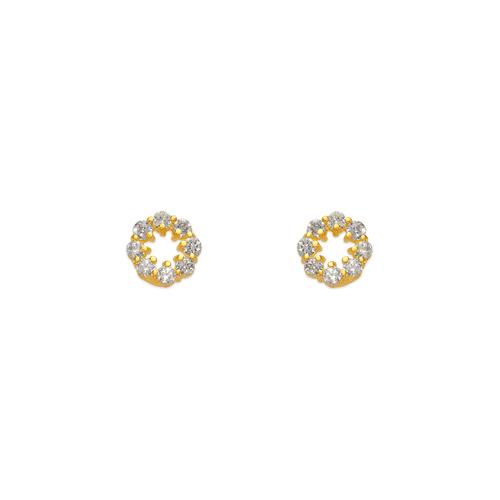 443-439 Flower CZ Stud Earrings