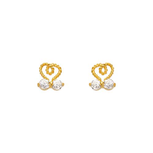 443-440 Twisted Heart CZ Stud Earrings