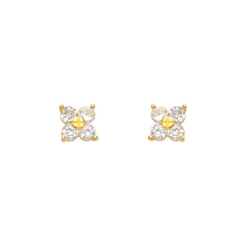 443-441 Flower CZ Stud Earrings
