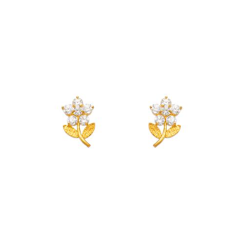 443-442 Flower CZ Stud Earrings