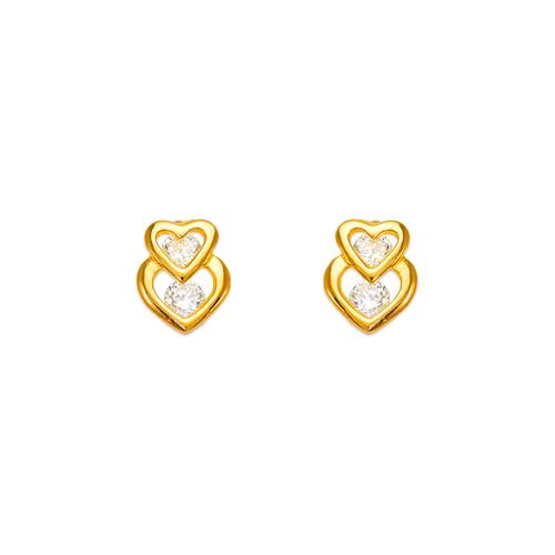 443-450 Double Heart CZ Stud Earrings