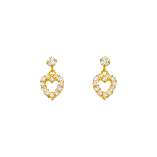 443-451 Dangling Heart CZ Stud Earrings