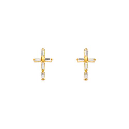 443-466 Cross CZ Stud Earrings